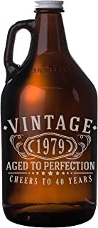 Vintage 1979 Etched 64oz Amber Glass Beer Growler - 40th Birthday Aged to Perfection - 40 years old gifts
