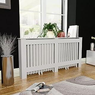 ROMELAREU Cubierta para el radiador Blanco MDF 172 cmCasa y jardín Accesorios para electrodomésticos Accesorios para radiadores de calefacción