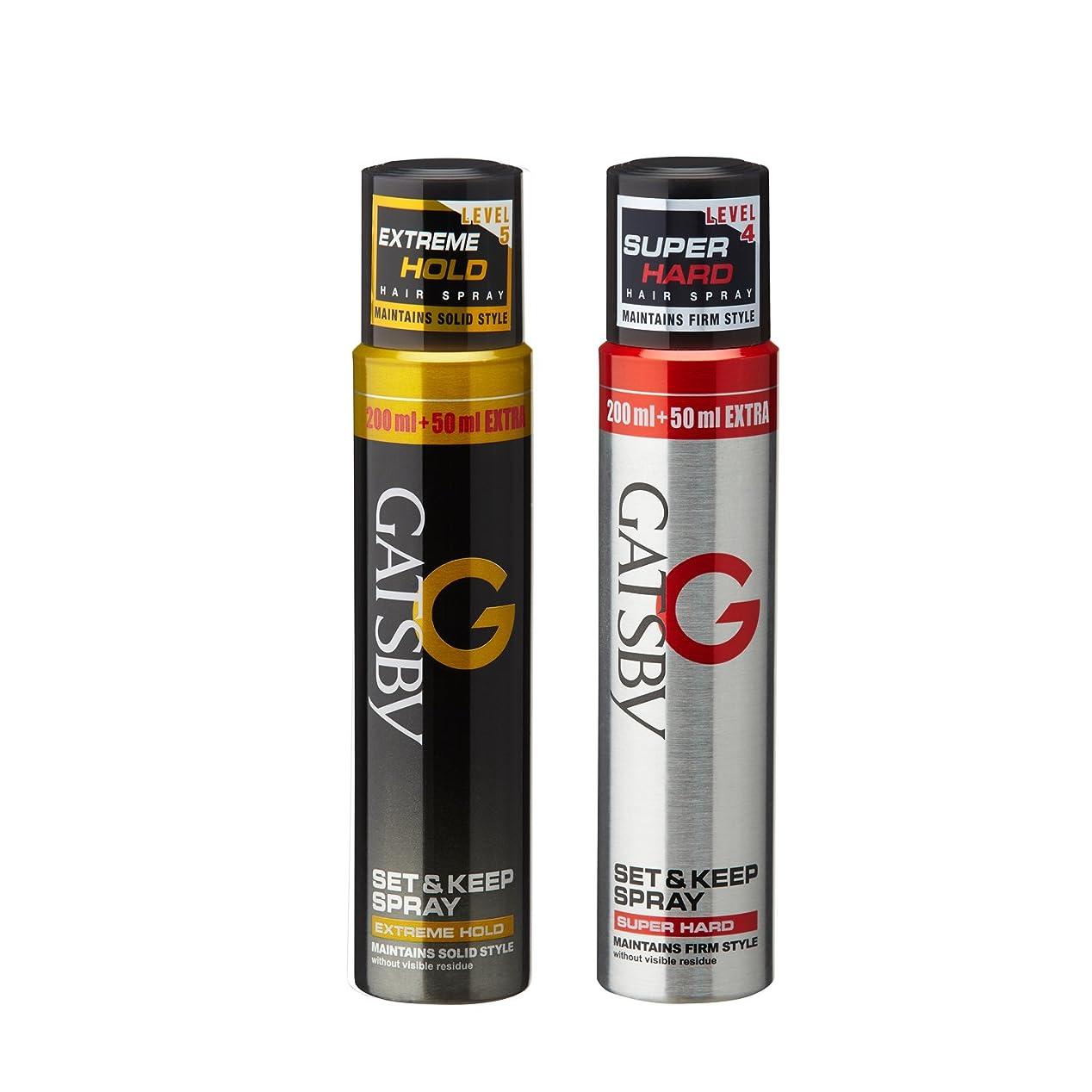 支払うチューブ耐久Gatsby Set and Keep Extreme Hold Hair Spray, 250ml with Super Hard Hair Spray, 250ml
