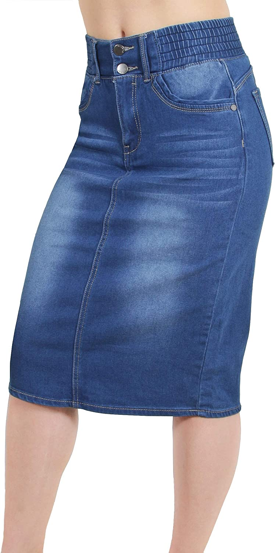 Fashion2Love Women's Juniors/Plus Butt Lifting Pencil Denim Midi Skirt with Elastic Waist