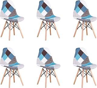 BenyLed Pack 6 Sillas de Comedor de Tela con Patas de Mmadera de Haya Sillas Patchwork de Estilo Nórdico (Bu-6pcs)