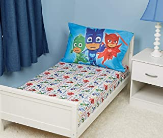 EVERYDAY KIDS Toddler Fitted Sheet and Pillowcase Set - Soft Microfiber, Breathable and Hypoallergenic Toddler Sheet Set (Pj Masks)