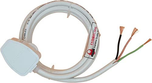 INDRICO 3 Pin Power Cable AC Extension Cord 3 Core Copper Heavy Duty Wire for Cooler Fan Refrigerator Fan and Other Home Appliances PVC White Pack of 1 1 5 MM Cable 3 Meter