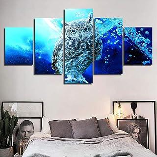 5 Piezas Arte Pared Pintura Moderno Imagen Búho azul Pintura en Lienzo Cuadros del Arte para la Sala de Estar Dormitorio Decoración de la Pared de los niños 100x55cm (Con Marco)