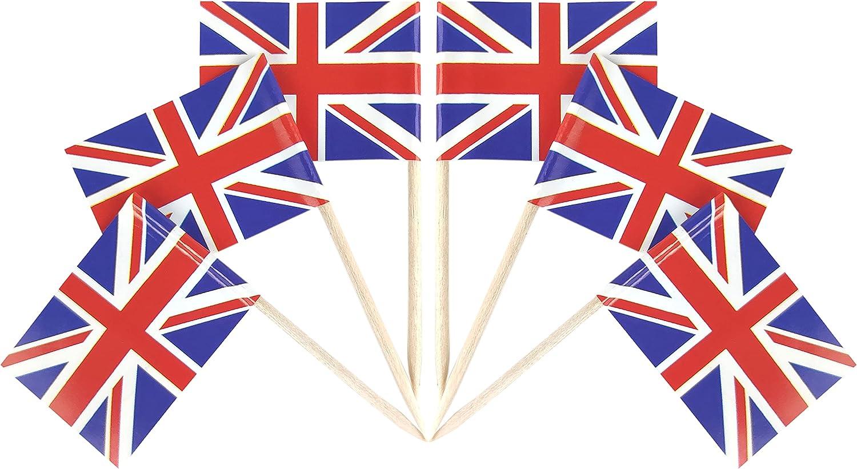 QQSD 100 Pcs United Kingdom Flag Toothpicks UK Flags Cupcake Toppers Decorations, Mini Small Britain Flag Cupcake Pick Sticks Cocktail British Toothpick Flag Cake Topper Picks