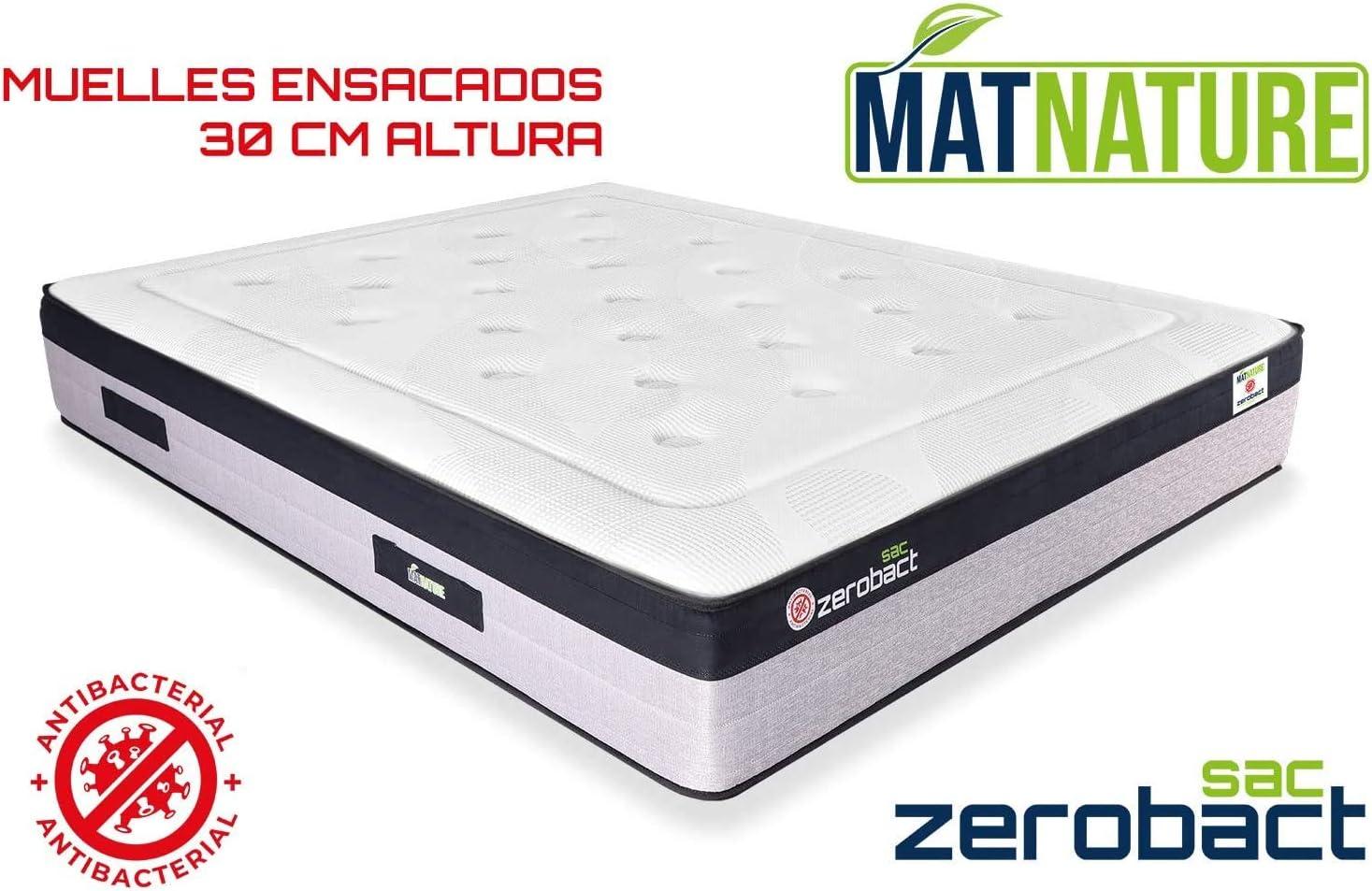 Matnature | Colchón Antibacterial Modelo Zerobact Sac | Altura 30 cm | Colchón Viscoelástico | Colchón Muelle Ensacado | Gran Confort | Todas Las ...