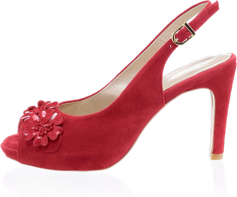 Alba Moda Damen Sandalette mit Blütenapplikation aus Lackmaterial