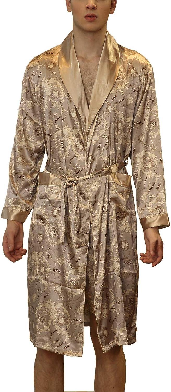 Previn Men's Satin Kimono Robe Luxurious Silk Long Sleeve Spa Bathrobe Pockets Loungewear