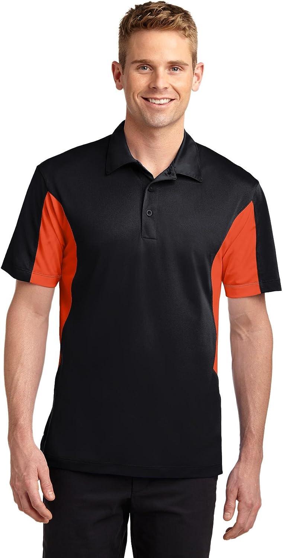 Sport-Tek Mens Tall Side Blocked Micropique Sport-Wick Polo, 3XLT, Black/ Deep Orange