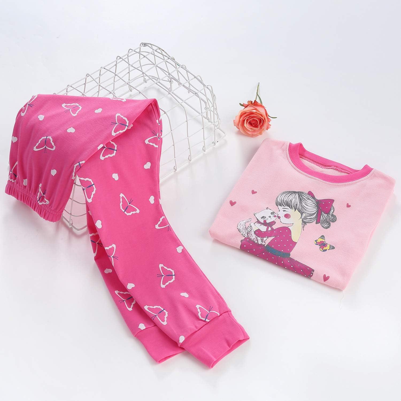 DAUGHTER QUEEN Girls Pajamas Set 100/% Cotton Long Sleeve Kids Sleepwear