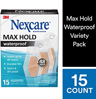 Nexcare Bandages Max Hold Waterproof Bandages, Assorted, 15 Count