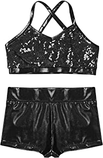 Girls' Kids 2-Piece Active Set Dance Sport Outfits Racer Back Top and Booty Short Gymnastics Dancing Clothes