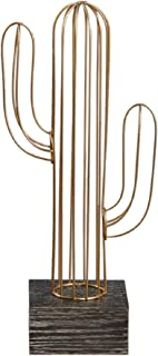 Pacific Trade Imports Metal Wire Cactus Sculpture (Gold, Large)