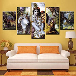 PEACOCK JEWELS Premium Quality Canvas Printed Wall Art Poster 5 Pieces / 5 Panels Wall Decor Krishna & Radha Painting, Hom...