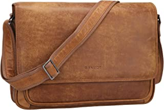 Banuce Men's Messenger Bag Genuine Leather Laptop Briefcase Attache Case Business Shoulder Bag Light Brown
