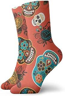 yting, Calavera Dulce Muerta Calcetines cortos transpirables Calcetines clásicos de algodón de 30 cm para hombres Mujeres Yoga Senderismo Ciclismo