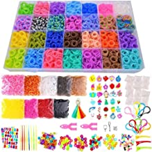 19000+ Rainbow Rubber Bands Refill Kit, 37 Colors Loom Bands, 1000 S-Clips, 2 Y Looms, 280 Beads, 52 ABC Beads, 30 Charms, 10 Backpack Hooks, Tassels, Crochet Hooks and ABC Stickers by INSCRAFT