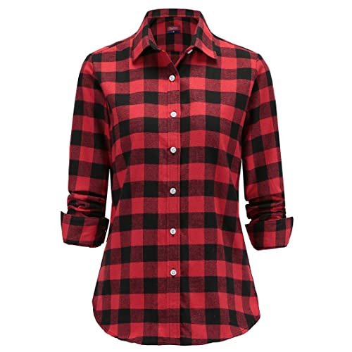 b81e0184180 Dioufond Women Flannel Blouse Check Shirt Long Sleeve Plaid Tops