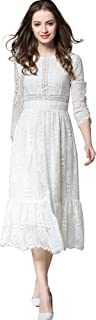 Ababalaya Women's Elegant Round Neck Floral Lace 3/4 Sleeve A-Line Midi Dress