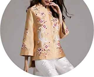 Women Tops Royal Embroidered Vintage Floral Short Coat Chinese Style Loose Jacket Coat S-XXL