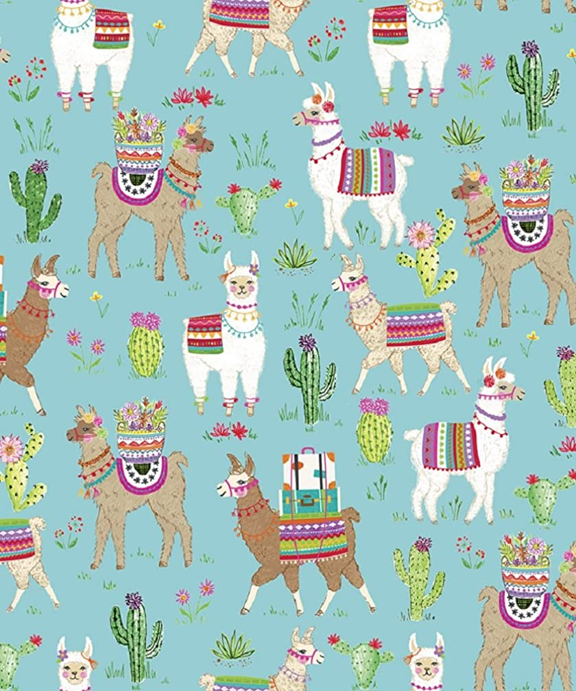 Dolly Llama Western Themed Gift Wrap Flat Sheet - 24