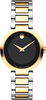 Movado Women's Modern Classic Two Tone Watch with Concave Dot Museum Dial, Black/Gold (Model 607102)
