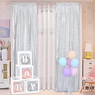 Blxsif Pailletten Kulissevorhänge – 2 Paneele 6,5 x 2,4 m Glitzer Silber Vorhänge Hintergrund Party Hochzeit Babyparty Vorhang Sparkle Fotografie Hintergrund