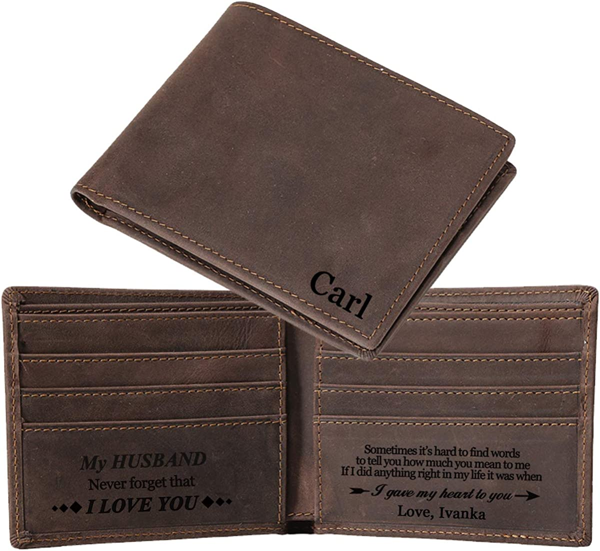 Personalized Wallets For Men, Genuine Leather RFID Bifold Wallets Mens Gifts