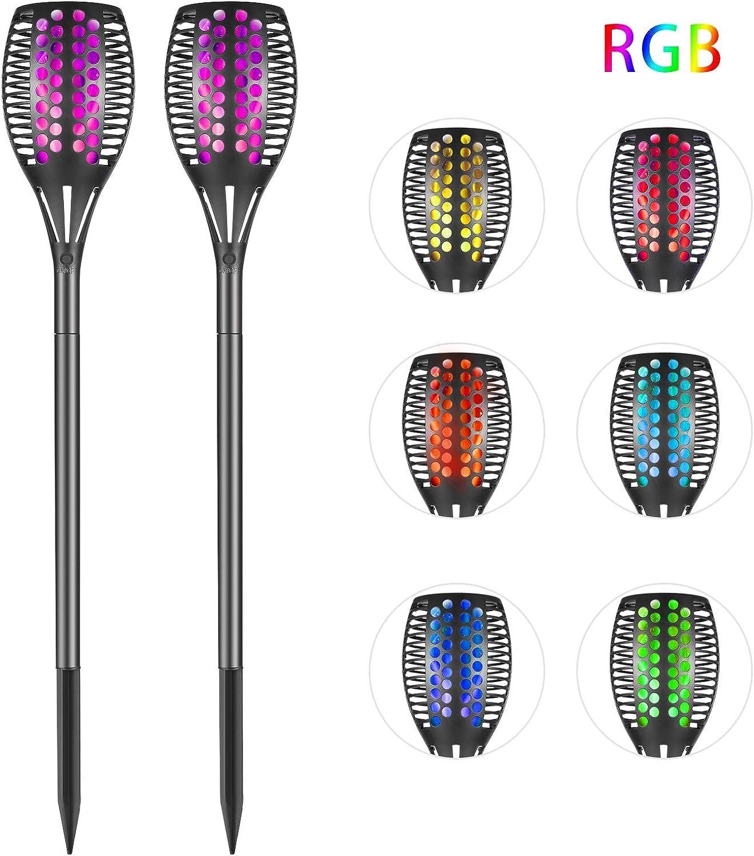 Solar Fackel - Gartenleuchte Garten Fackeln RGB Solarleuchte, Solarlampe mit 7 Farben realistischen Flammen und IP65 Wasserdicht für Garten Party Atmosphre [2 Stücke]