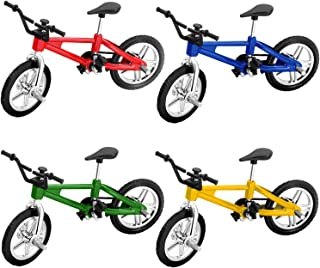 Novelty Place - 4 Pack Mini Finger Bike Miniature Bicycle Toy Functional Finger Bicycle Mini Bike Model for Collections Cr...