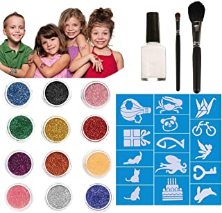 Chnaivy Glitter Tattoos 12 Colors Temporary Make Up Body Glitter Face Paint 30 Sheets Cute Stencils of Glitter 1 Glue 2 Brushes,Waterproof Adhesive Birthday Gift for Kids Girls DIY Party Supplies