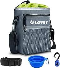Dog Treat Pouch Pet Training Bag for Small to Large Dogs, Treat Tote Carry Kibble Snacks Toys for Training Reward Walking, Metal Clip, Waist belt, Shoulder Strap, Poop Bag Dispenser, Clicker, Bowl