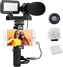 Movo Smartphone Video Rig Kit V7 با Grip Rig، Microphone Pro Stereo، Light Light & Remote Wireless - تجهیزات YouTube برای iPhone 5، 5C، 5S، 6، 6S، 7، 8، X، XS، XS Max، Samsung Galaxy، Note & بیشتر