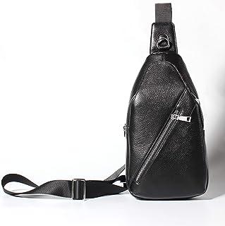 Crossbody Bag Men Genuine Leather Diagonal Package Fashion High-end Black Chest Bag Cowhide Shoulder Bags Casual Men's Bag 4L Adjustable Shoulder Strap Leather Bag