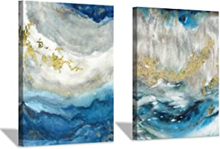 """Hardy Gallery Abstract Seascape Pictures Wall Art - Coastal Beach Canvas Print for Living Room 16""""x12""""x2 panels"""