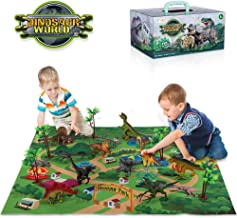 TEMI Dinosaur Toy Figure w/ Activity Play Mat & Trees, Educational Realistic Dinosaur Playset to Create a Dino World Inclu...