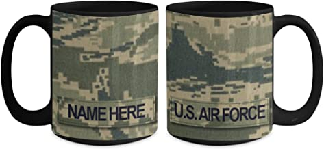 US Air Force (USAF) Master Sergeant (MSgt) E7 Coffee Cup - Personalized 15 oz Military Ceramic Mug - Customize with Name…
