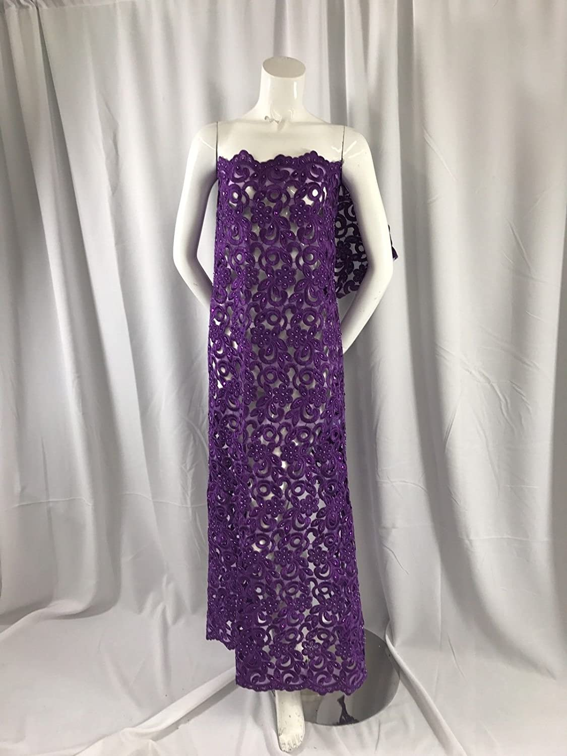Purple We OFFer at cheap prices Flowers Embroider And Hand Organza Max 72% OFF Beaded On Lace-dress A
