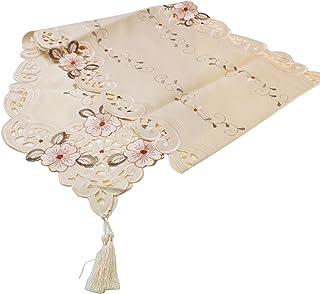 Sin marca 220x40cm Camino de Mesa Mantel Bordado Calado de Flores tapicería para Boda casa (1 Unidad)