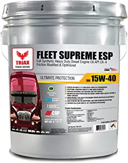 Triax Fleet Supreme 15W-40 API CK-4 Full Synthetic Diesel Engine Oil | Friction Optimized with Boosted with Molybdenum & Nano-Boron | Superb Powerstroke Performance(5 GAL Pail)
