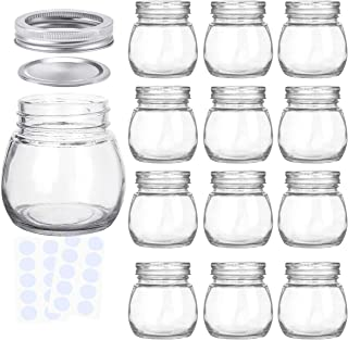 KAMOTA Round Mason Jars 12 oz With Regular Lids and Bands, Ideal for Jam, Honey, Wedding Favors, Shower Favors, Baby Foods, DIY Magnetic Spice Jars, 12 PACK, 20 Whiteboard Labels Included