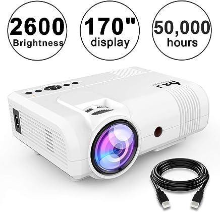 "DR. J Professional 2600 Brightness Home Theater Mini Projector Max. 170"" Display, Full HD LED Projector 1080P/HDMI/VGA/USB/TF/AV/Sound Bar/Video Games/TV 1080P Support (White)"