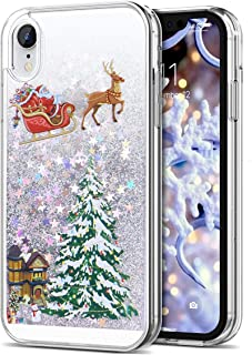 iPhone XR Case 6.1 inch, CinoCase 3D Creative Liquid Case [Christmas Collection] Flowing Quicksand Moving Stars Bling Glitter Snowflake Christmas Tree Santa Claus Pattern Hard Case for iPhone XR