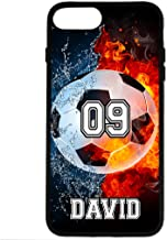 iPhone 8 Plus Case, iPhone 7 Plus Case, ArtsyCase Water Fire Soccer Ball Personalized Name Number Phone Case for iPhone 7 Plus and iPhone 8 Plus (Black)