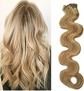 Body Wave Hair Extensions Clip ins Beige Blonde with Bleach Blonde Highlights 70grams 7pcs Soft Heat Resistant Blonde Balayage Curly Clip Human Hair Extensions(H#18/613, 18inches)