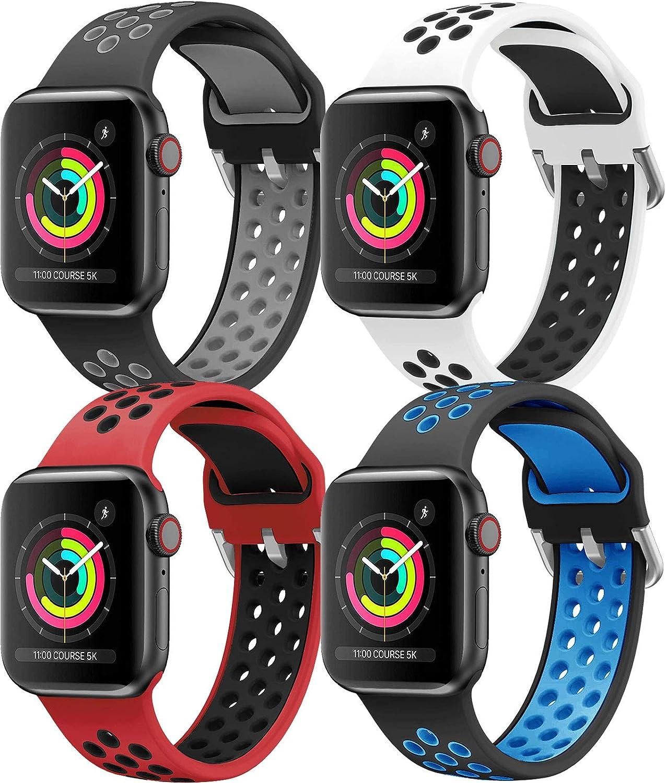 HLTEK Correa Compatible para Apple Watch 44mm 42mm 40mm 38mm, Suave Silicona Pulseras de Repuesto para iWatch Series 6/5/4/3/2/1/se