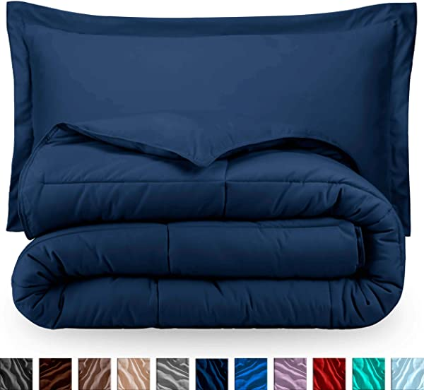 Bare Home Comforter Set Twin Twin Extra Long Goose Down Alternative Ultra Soft Premium 1800 Series Hypoallergenic All Season Breathable Warmth Twin Twin XL Dark Blue