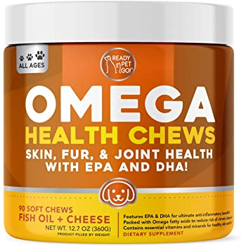 Ready Pet Go! Omega 3 for Dogs | Fish Oil for Dog Shedding, Skin Allergy, Itch Relief, Mange and Hot Spots Treatment | EPA & DHA | Natural Joint Supplement for Dogs, Heart and Brain Health | 90 Chews