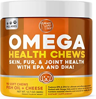 Ready Pet Go! Omega 3 for Dogs | Fish Oil for Dog Shedding, Skin Allergy, Itch Relief, Mange and Hot Spots Treatment | EPA...