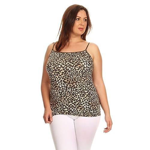 09ea635b81893 Ambiance Apparel Plus Size Leopard Print Spaghetti Strap Tank Top